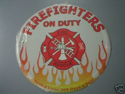 ROUND FIREFIGHTERS ON DUTY TIN SIGN METAL SIGNS F