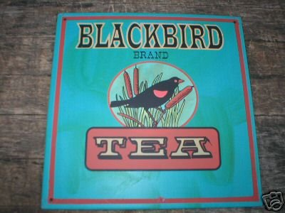 VINTAGE STYLE BLACKBIRD TEA TIN SIGN PIC METAL AD SIGNS