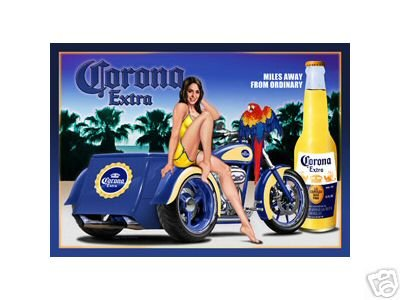 CORONA EXTRA MOTORCYCLE TIN SIGN METAL ADV AD SIGNS C