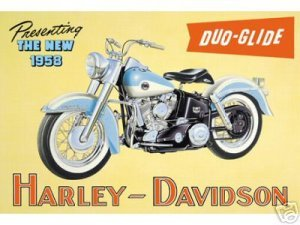 MOTORCYCLE DUO-GLIDE TIN SIGN METAL ADV SIGNS H