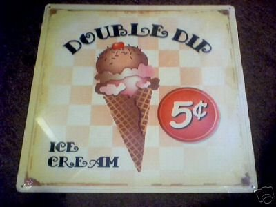 DOUBLE DIP ICE CREAM SIGN METAL ADV SIGNS D