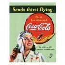 COCA-COLA SIGN SENDS THIRST FLYING TIN SIGN C