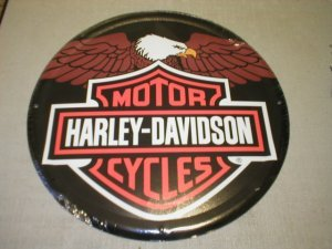 HD EAGLE w/HARLEY LOGO TIN SIGN H