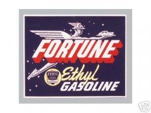 FORTUNE ETHYL GASOLINE gas service station HEAVY STEEL SIGN HOME garage DECOR