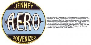 JENNEY AERO SOLVENIZED SIGN METAL AD SIGNS J