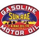 SUN-RAE GASOLINE MOTOR OIL SIGN RETRO ADV SIGNS S