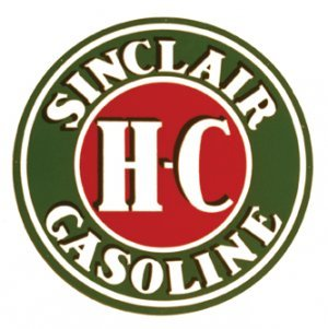 """SINCLAIR H.C HEAVY STEEL ROUND SIGN BAKED ENAMEL 25.5"""""""