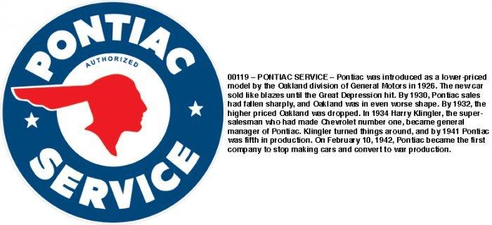 PONTIAC SERVICE HEAVY STEEL SIGN BAKED ENAMEL 25.5