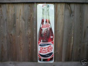PORCELAIN-COATED PEPSI COLA SIGN METAL ADV AD SIGNS P
