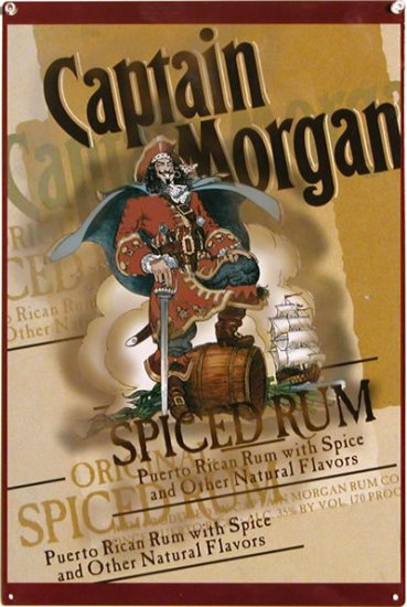 CAPTAIN MORGAN SPICED RUM TIN SIGN METAL ADV SIGNS M