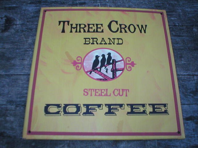 VINTAGE STYLE THREE CROW COFFEE TIN SIGN METAL AD SIGNS