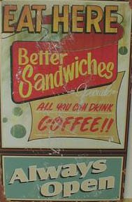EAT HERE TIN DINER PIC SIGN METAL FOOD BAR HOME SIGNS