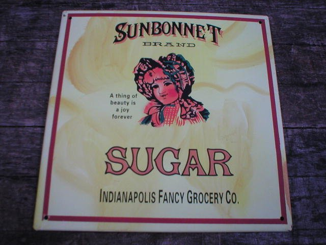 VINTAGE STYLE SUNBONNET SUGAR TIN SIGN METAL  ADV SIGNS