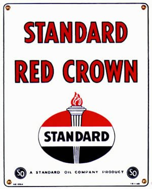 Standard Red Crown Gas Pump Sign Porcelain Coated Man Cave Decor Flame Torch