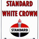 Standard White Crown Gas Pump Sign Porcelain Coated Man Cave Decor Flame Torch