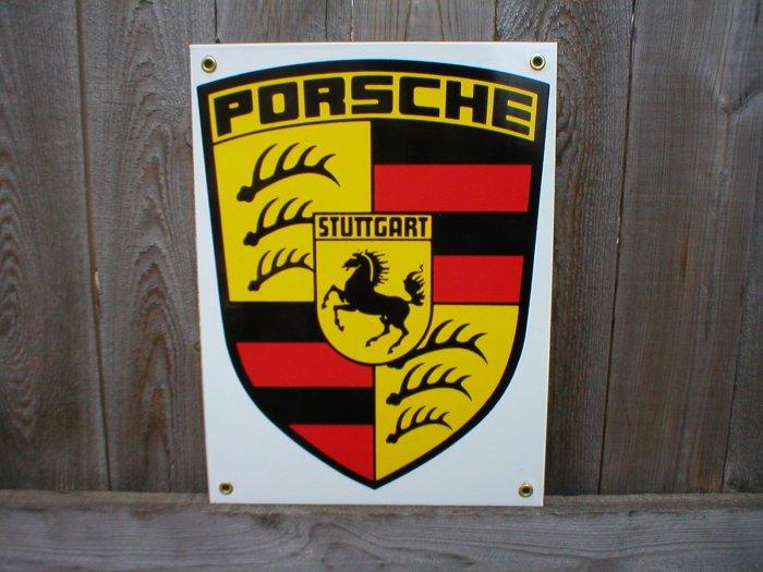 PORSCHE PORCELAIN-COATED ADV SIGN M