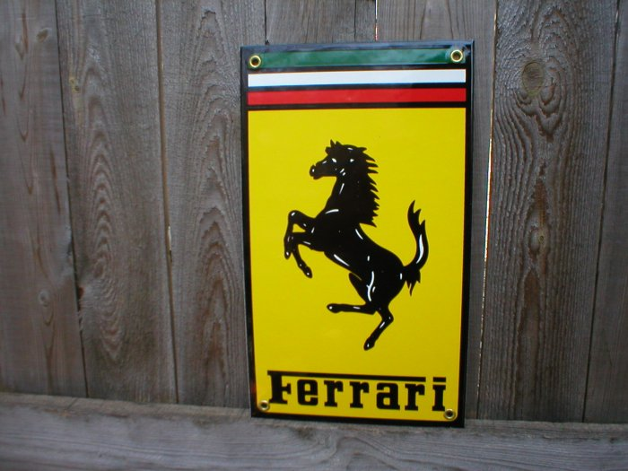 FERRARI PORCELAIN-COATED ADV SIGN F