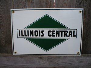 ILLINOIS CENTRAL RAILROAD PORCELAIN-COATED ADV SIGN P