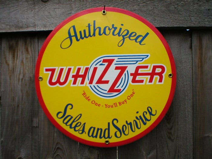 WHIZZER SERVICE PORCELAIN-COATED SIGN