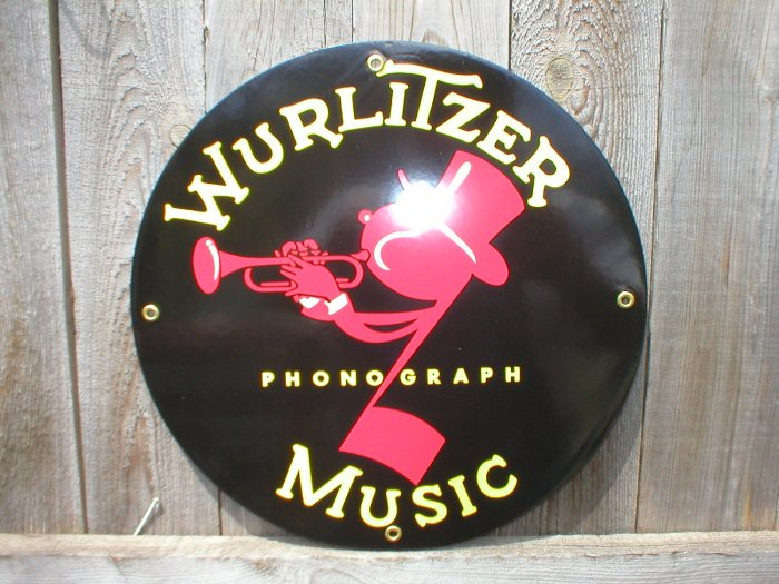 WURLITZER PORCELAIN-COATED RETRO ADV SIGN W