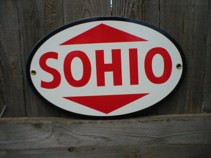OVAL PORCELAIN COATED SOHIO PARTS SIGN RETRO ADV SIGNS C