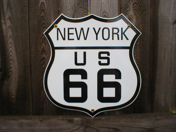 ROUTE 66 NEW YORK PORCELAIN-COATED SHIELD SIGN N