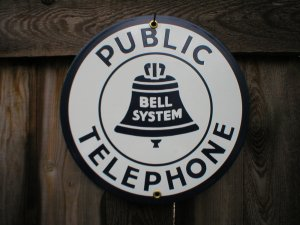PUBLIC TELEPHONE PORCELAIN-COATED SIGN C