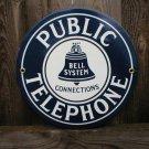 PUBLIC TELEPHONE PORCELAIN-COATED SIGN P