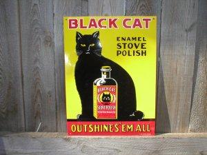 BLACK CAT STOVE POLISH TIN SIGN B