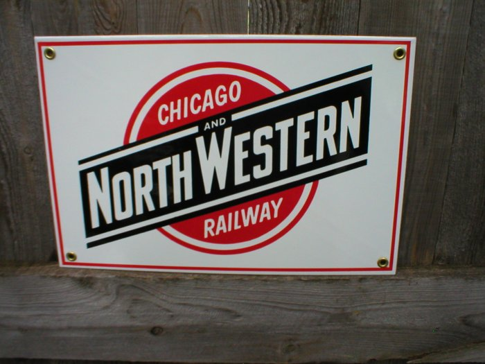 CHICAGO NORTHWESTERN RAILWAY PORCELAIN-COATED RAILROAD SIGN C