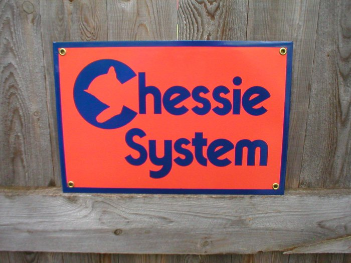 CHESSIE SYSTEM PORCELAIN-COATED RAILROAD SIGN C