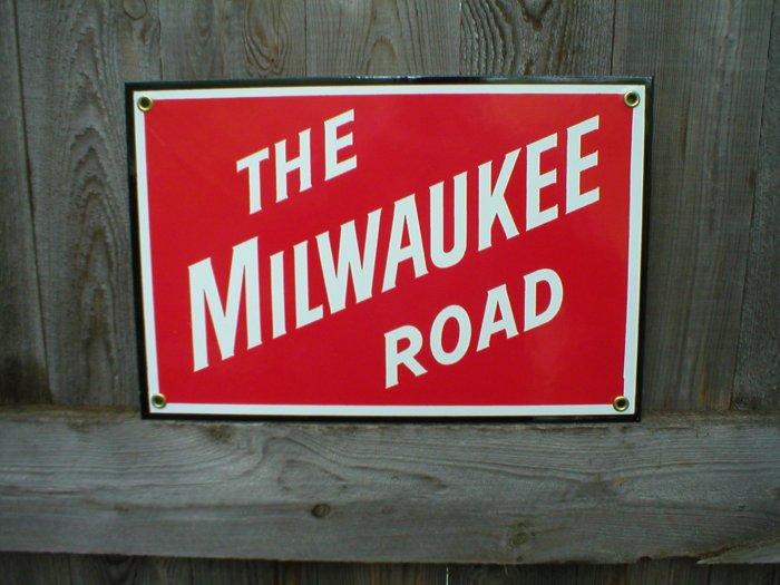 THE MILWAUKEE ROAD PORCELAIN-COATED RAILROAD SIGN C