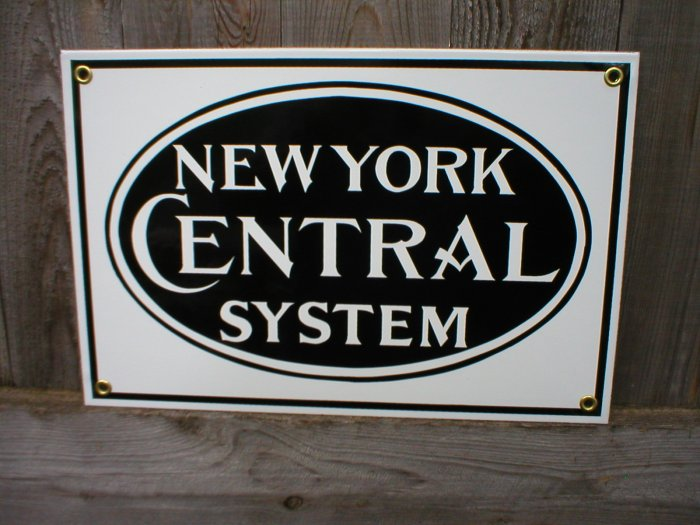 NEW YORK CENTRAL PORCELAIN-COATED RAILROAD SIGN C