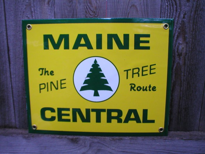 MAINE CENTRAL PORCELAIN-COATED RAILROAD SIGN C