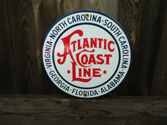ATLANTIC COAST LINE PORCELAIN-COATED RAILROAD SIGN A