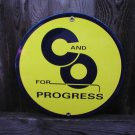 C&O FOR PROGRESS PORCELAIN-COATED RAILROAD ADV SIGN S