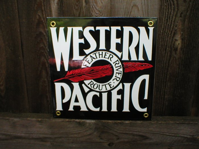 WESTERN PACIFIC PORCELAIN-COATED RAILROAD SIGN S