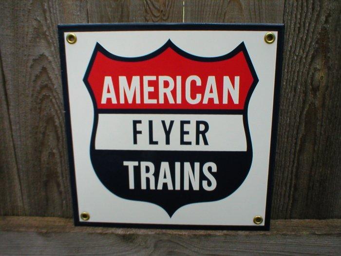 AMERICAN FLYER TRAINS PORCELAIN-COATED RAILROAD SIGN S