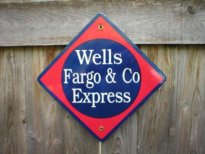 WELLS FARGO & CO EXPRESS PORCELAIN-COATED RAILROAD SIGN S