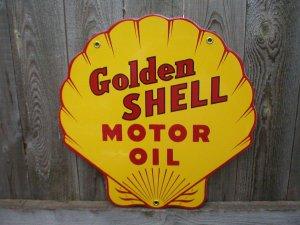 GOLDEN SHELL MOTOR OIL PORCELAIN-COATED ADV SIGN
