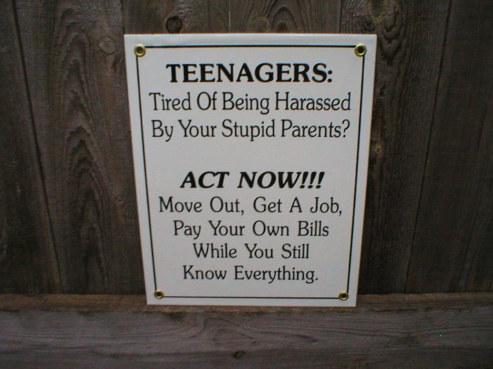 TEENAGERS PORCELAIN-COATED SIGN T