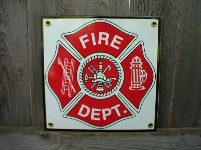 FIRE DEPT PORCELAIN COAT SIGN HOME OFFICE WALL DECOR