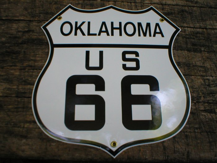 OKLAHOMA US 66 PORCELAIN-COATED SHIELD SIGN O