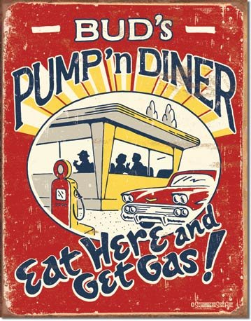 PUMP AND DINER TIN SIGN RETRO METAL ADV SIGNS I