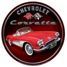 CHEVROLET CORVETTE ROUND TIN SIGN METAL ADV SIGNS C