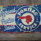 PONTIAC APPROVED SERVICE TIN SIGN METAL ADV SIGNS P