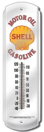 SHELL MOTOR OIL THERMOMETER SIGN METAL ADV SIGNS H