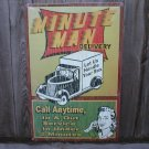 MINUTE MAN DELIVERY TIN SIGN METAL RETRO ADV SIGNS M
