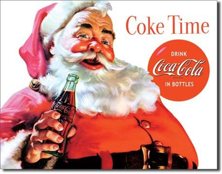 COKE TIME SANTA TIN SIGN METAL ADV RETRO SIGNS