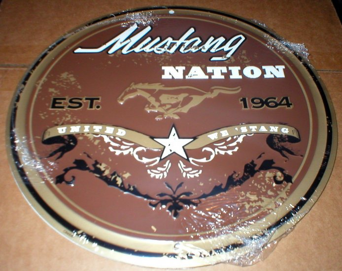 MUSTANG NATION TIN SIGN METAL ADV AD SIGNS M
